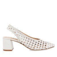 GIOSEPPO CANADICE WOMEN'S WHITE BRAIDED LEATHER SLINGBACK PUMPS